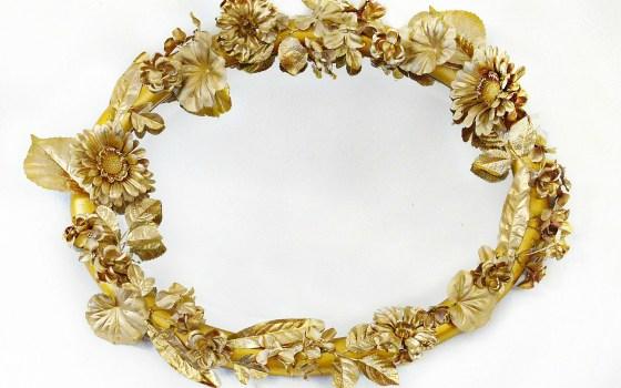 Anthropologie Inspired Gold Flower Mirror