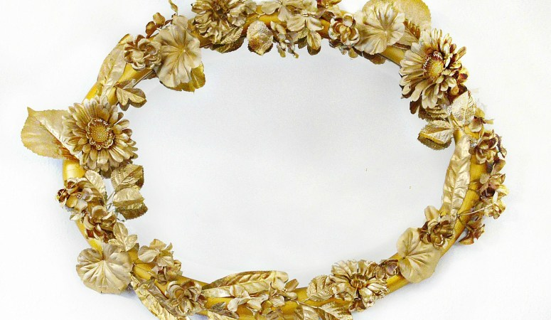 Anthropologie Inspired Gold Flower Mirror