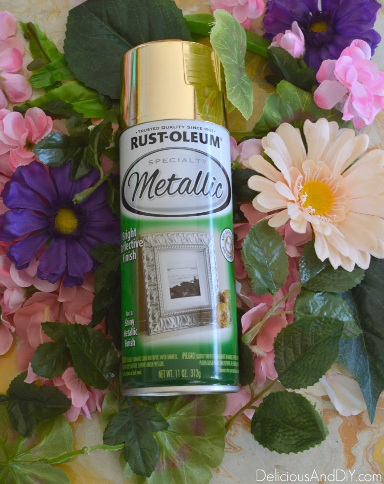 Gold Metallic spray paint to be used on the artificial flowers