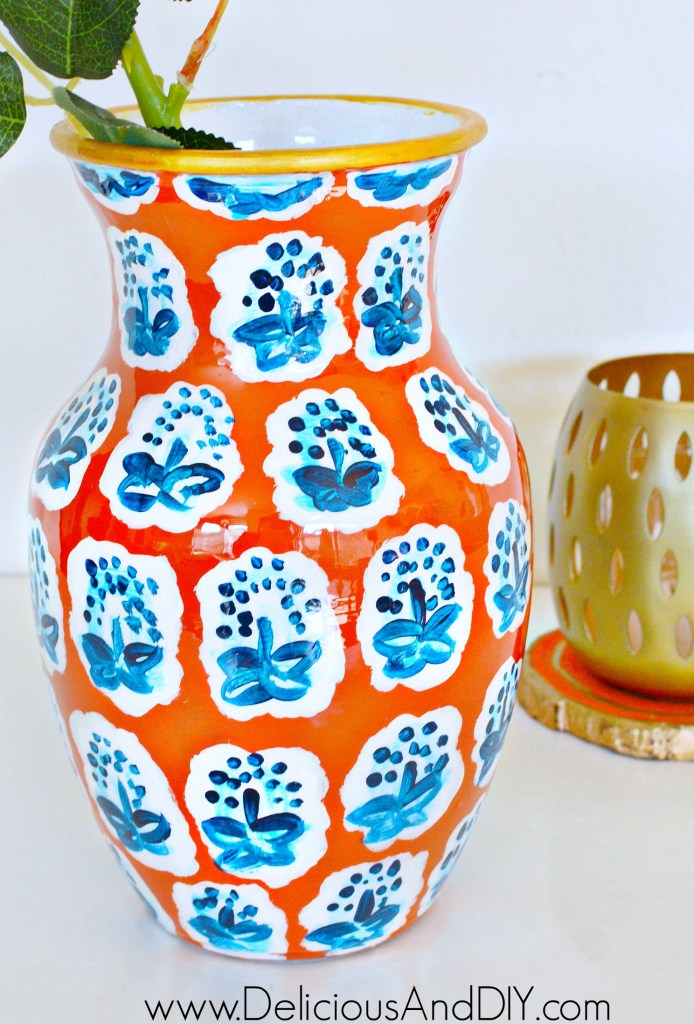 A hand painted Anthropologie Pattern on a Dollar Store Vase