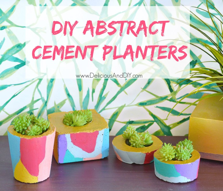 Create gorgeous Abstract Cement Planters using paints and cement. You only need disposable cups and a milk carton base to create beautiful shaped and sizes cement planters for your outdoor space.