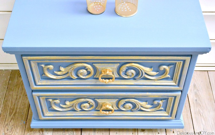 Paint your furniture and completely transform it into a gorgeous piece using Chalk Paint| Nightstand Makeover using Grey Chalk Paint with a touch of Gold