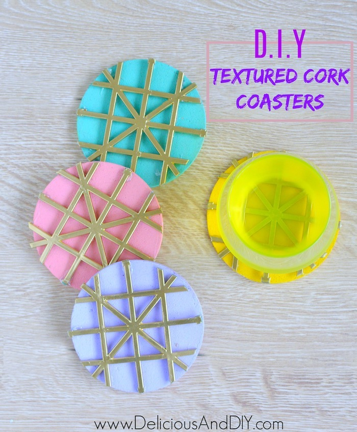DIY Textured Cork Coasters Using Mesh Backing
