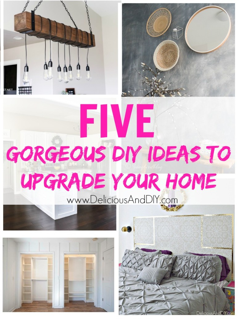 These five gorgeous DIY Ideas are a great way to upgrade your home and add make the space feel more like your own. Not only are these projects easy and budget friendly but they add an instant upgrade to your home without breaking the bank.