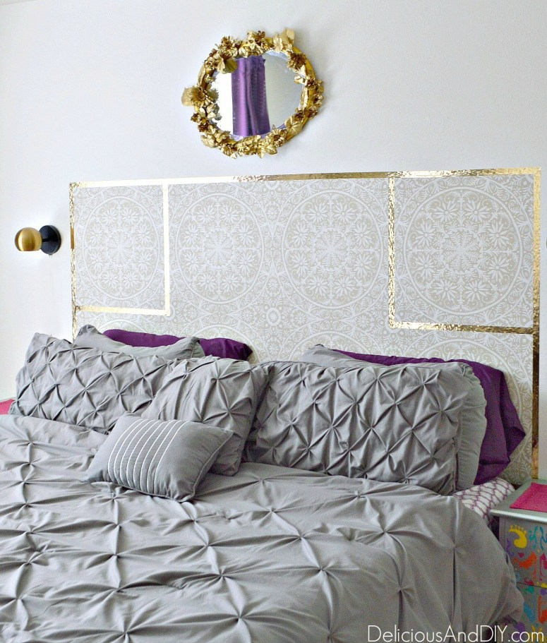 A super affordable way to make your own headboard is to use Removable Wallpaper. Not only is it so versatile but a great way to completely give a makeover to a room in under 30 minutes.