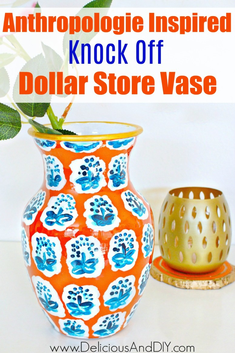 An orange and blue Anthropologie Pattern Vase made by painting a Dollar Store Vase