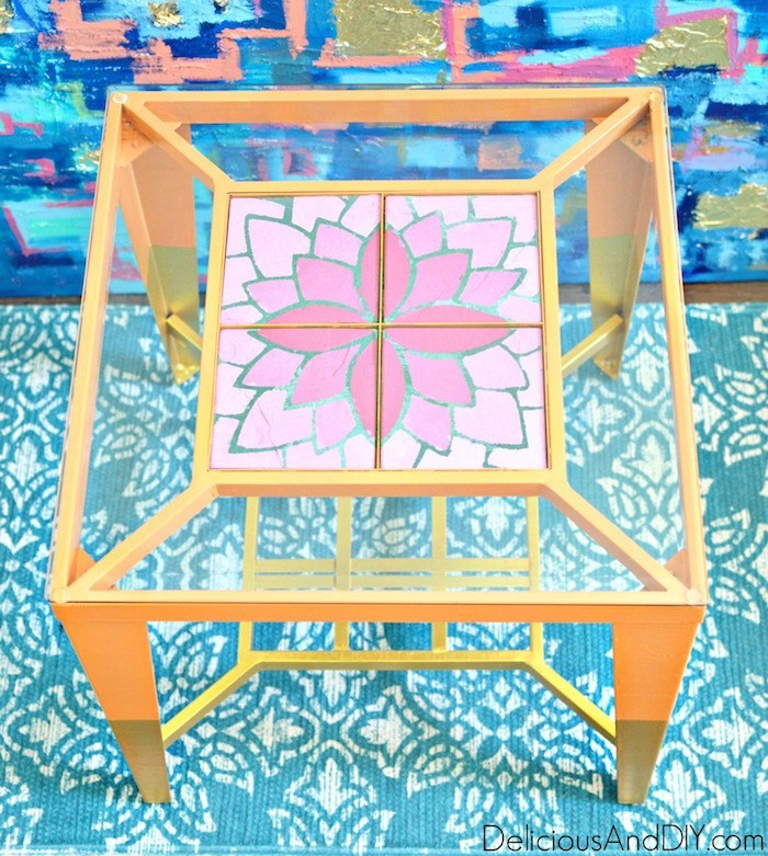 bright colored thrift store end tables with gold tipped legs