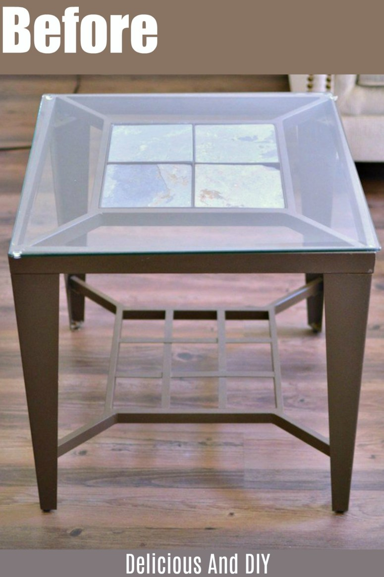 Thrift store End Table with Glass Table Top before being painted