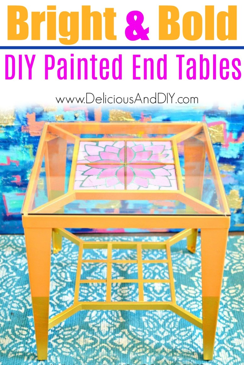 bright and bold painted thrift store end tables