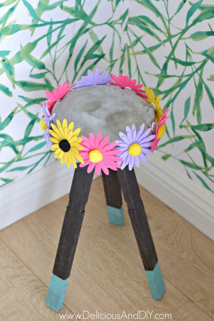 Colorful Felt Flower Concrete Plant Stand with half turquoise painted Wooden Legs