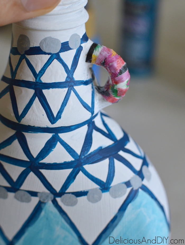 Decoupage Colorful Paper onto a Anthropologie Inspired Painted Vase