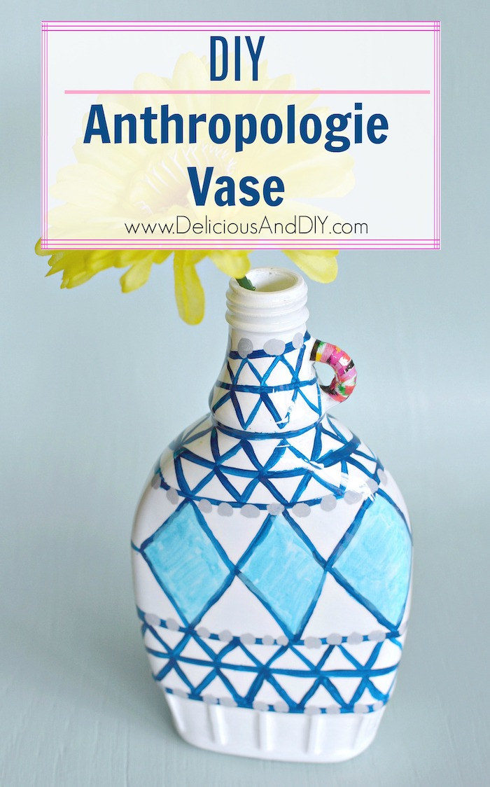DIY Anthropologie Vase that you can paint yourself using a few simple supplies. You can create it for half the price of the original.