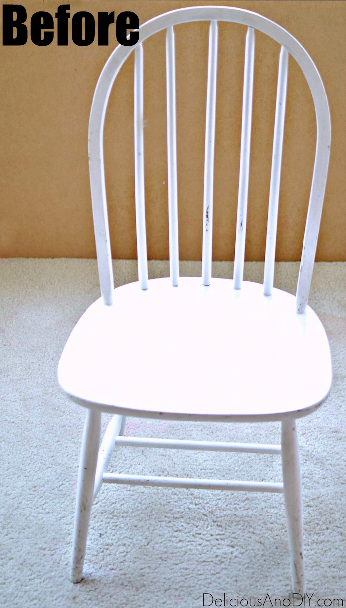 A white thrift store chair before being painted