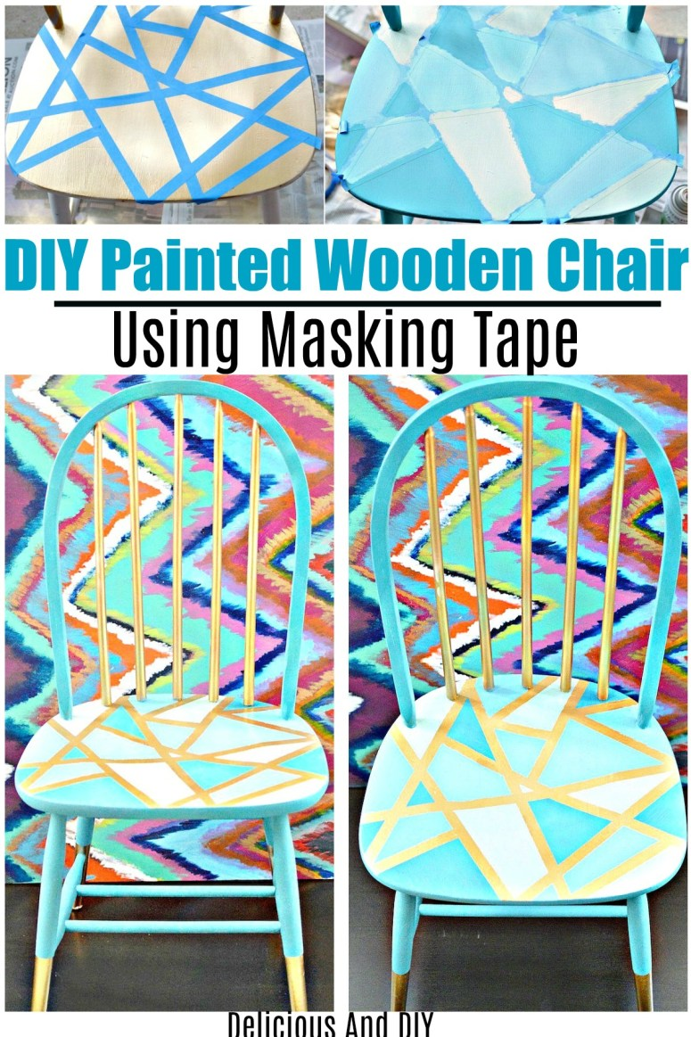 Transformation of a thrift store chair into a blue painted geometric pattern chair