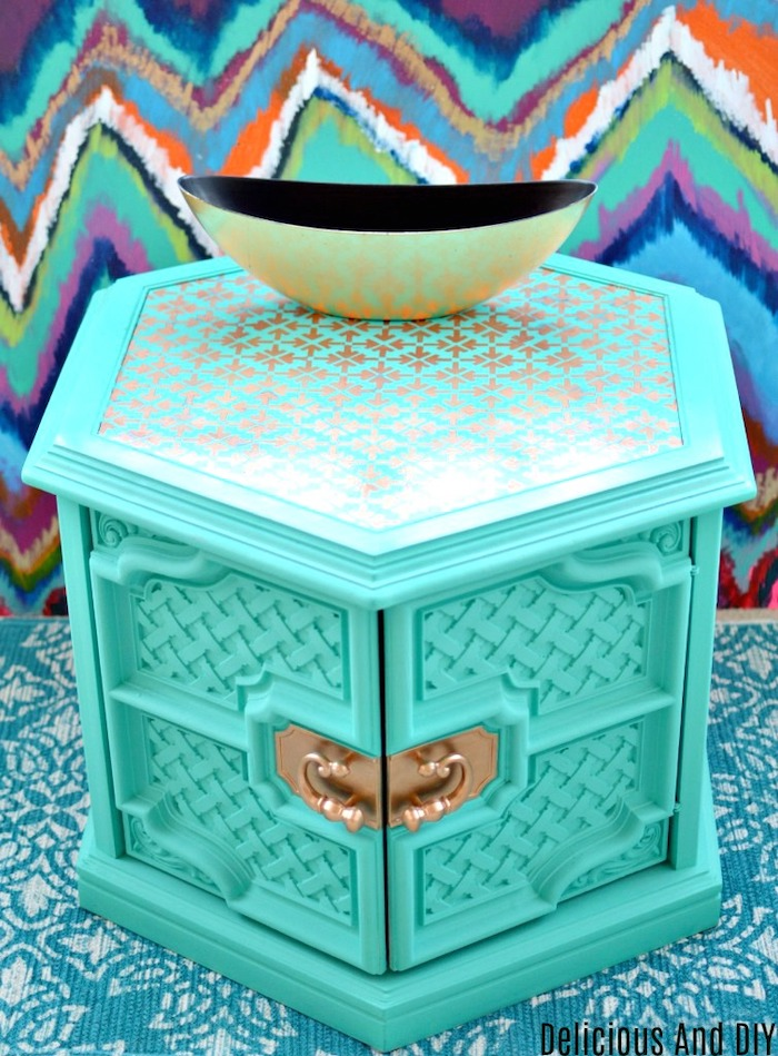 Hexagon Shaped Coffee Table painted Turquoise with Gold Stenciling on Top