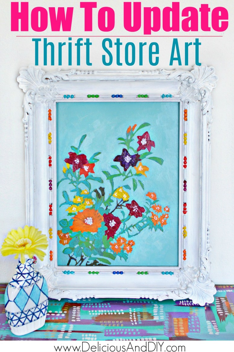 Repainted Wall Art with vibrant acrylic paints using multicolored paints