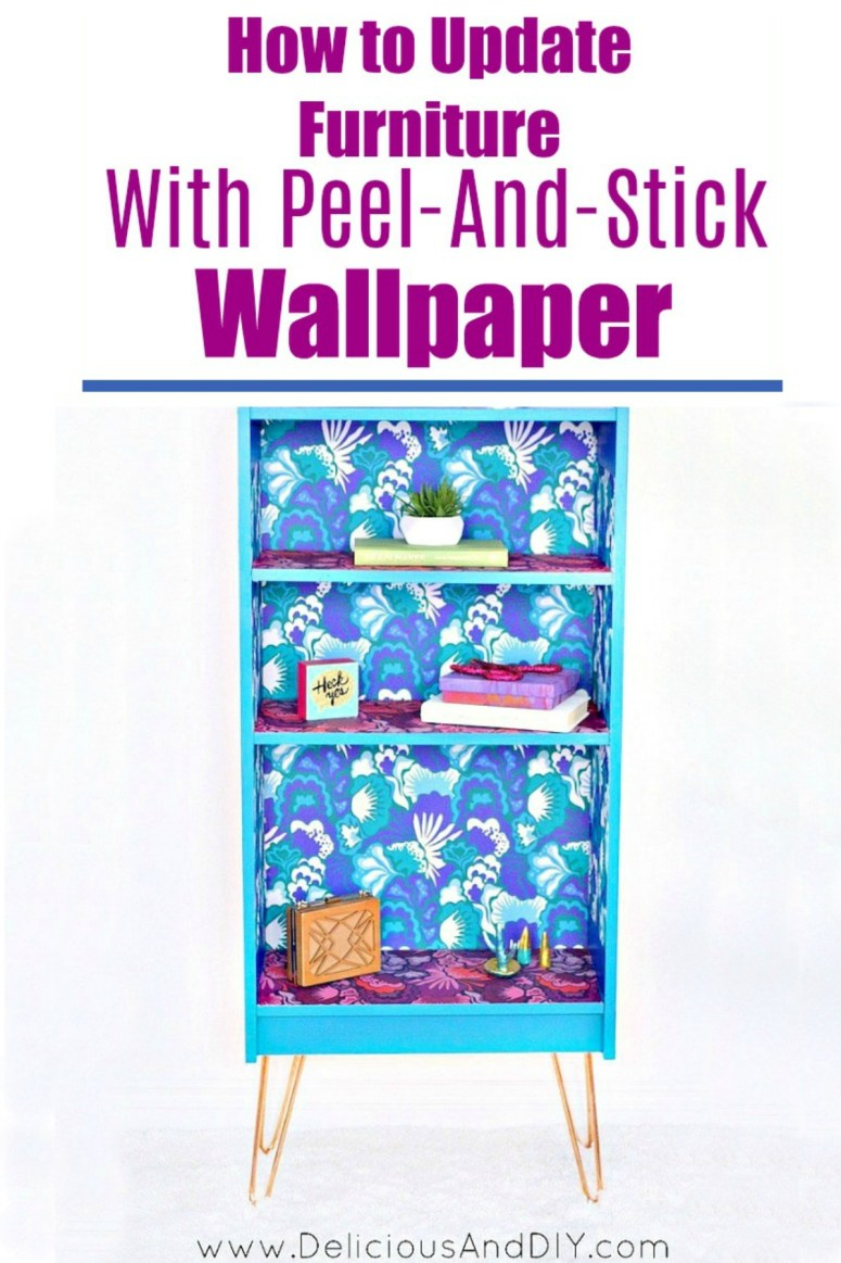 A hairpin bookshelf with a floral Peel and Stick Wallpaper