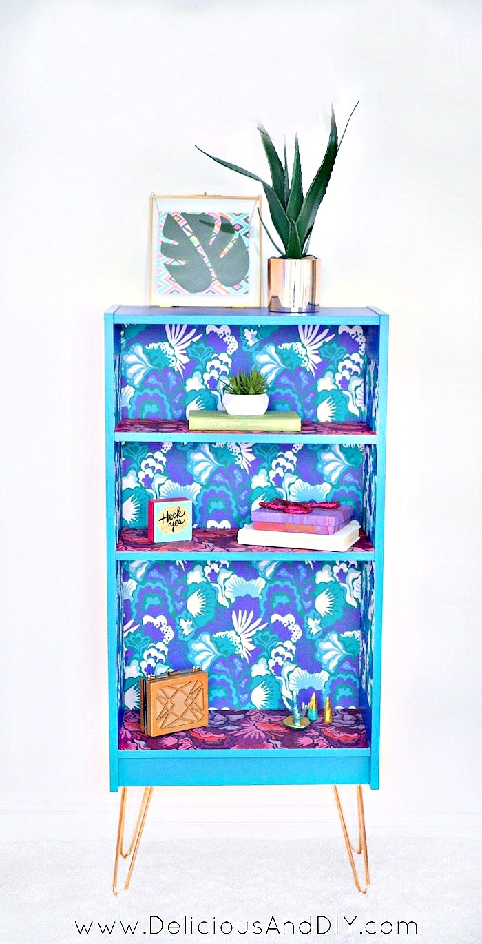 Updated Bookshelf with Peel and Stick Wallpaper and Copper Hairpin Legs