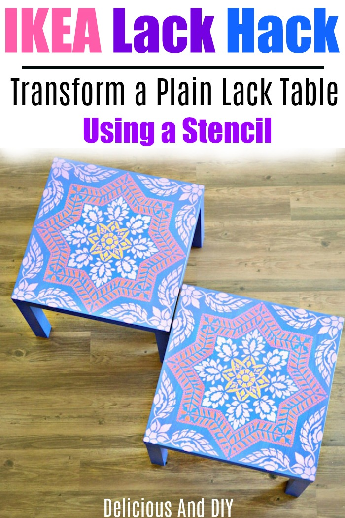 Painted IKEA Lack Table Using Floral Stencils