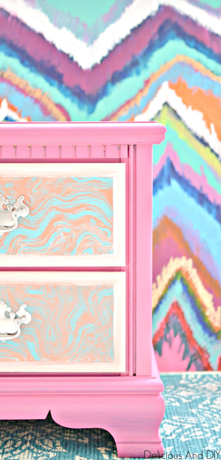 Painted Nightstand using pink and peach paint colors