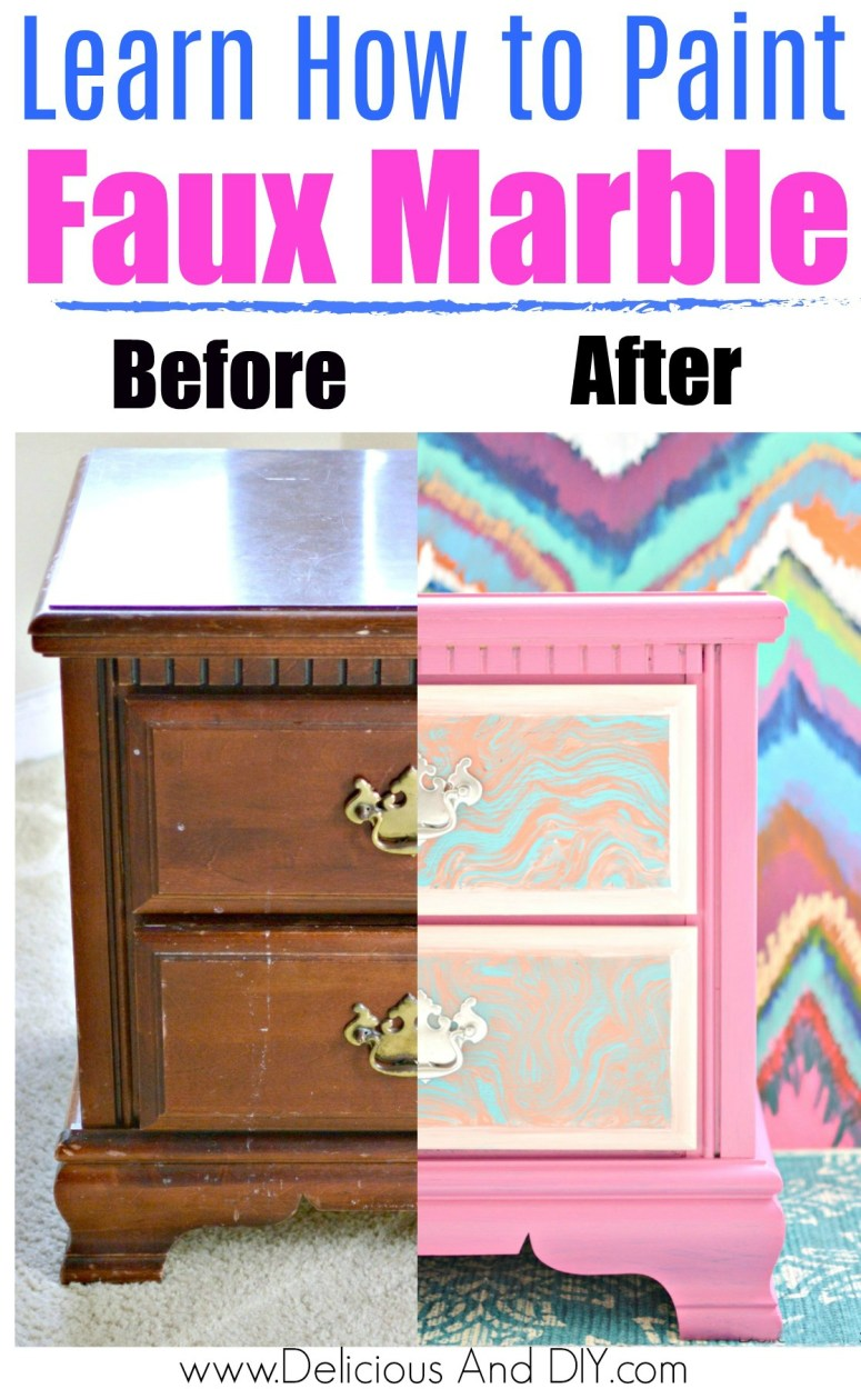 A comparison of thrift store nightstand painted and not painted