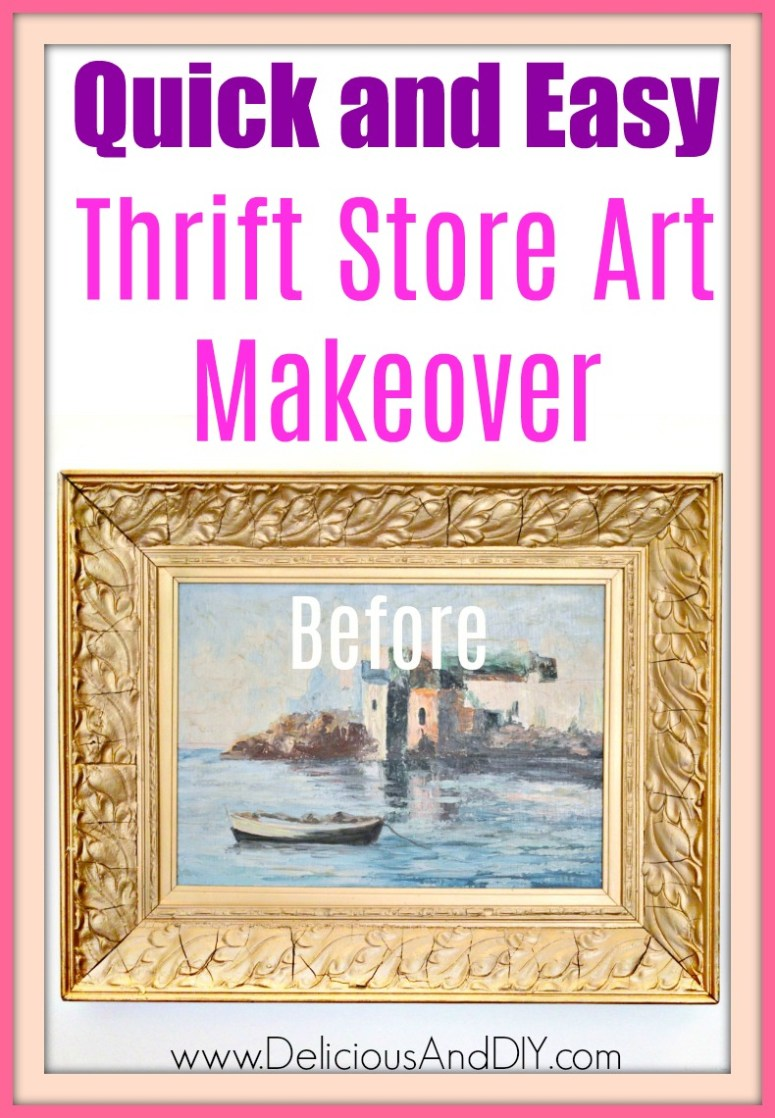 A thrift store canvas art with a landscape painting painted onto it and heavy metallic gold frame