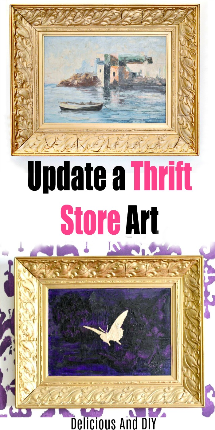 a picture of a golden stenciled butterfly onto a purple painted thrift store wall art with a heavy gold frame