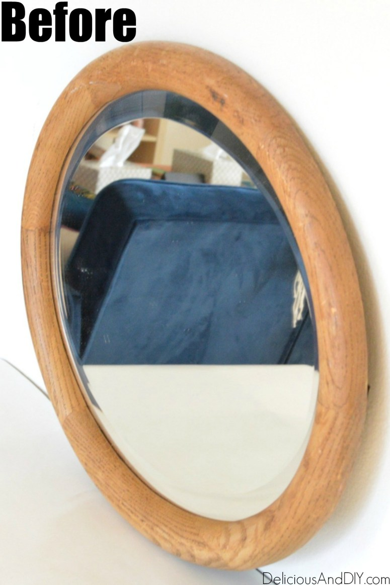 Thrifted Oval Shaped Brown Mirror before it is painted