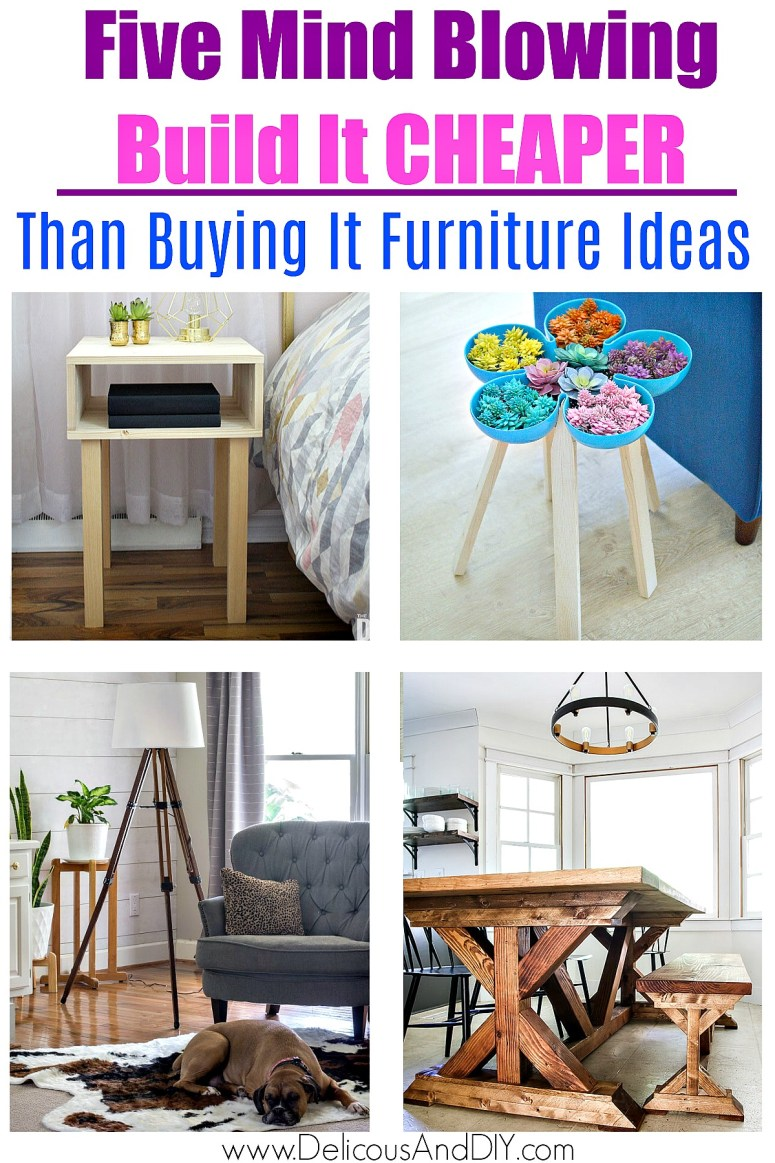 a collage of diy furniture projects