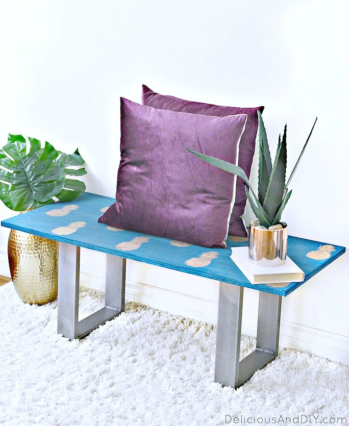 DIY Outdoor Bench with Pineapple Motif Stenciled