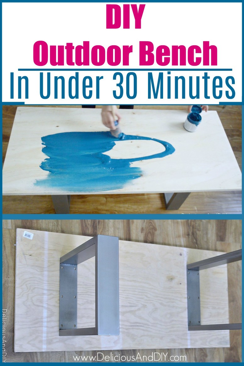 Learn how to make a DIY Outdoor Bench in under 30 Minutes