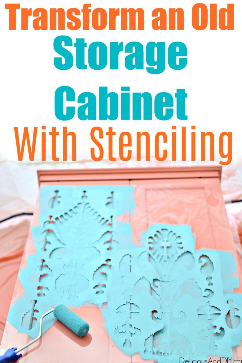 stenciling a storage cabinet using an ikat stencil