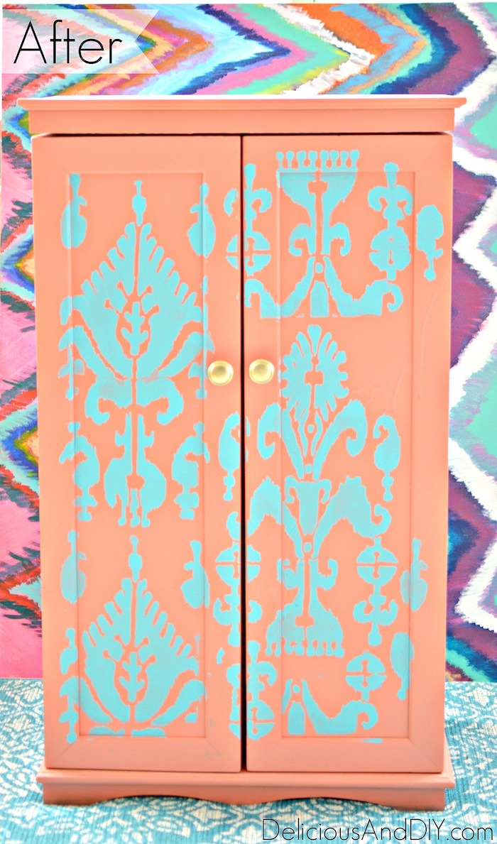 painted storage cabinet using bright colors and an ikat stencil