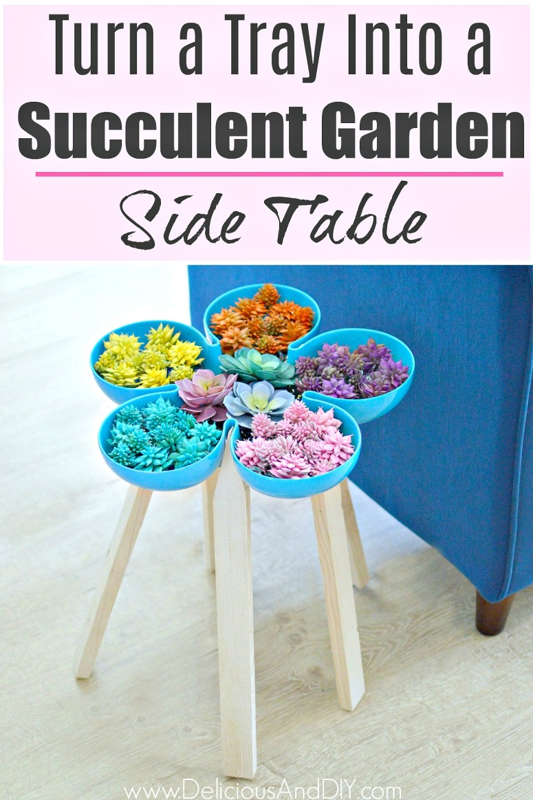 Turn a Tray into a Succulent Garden Side Table