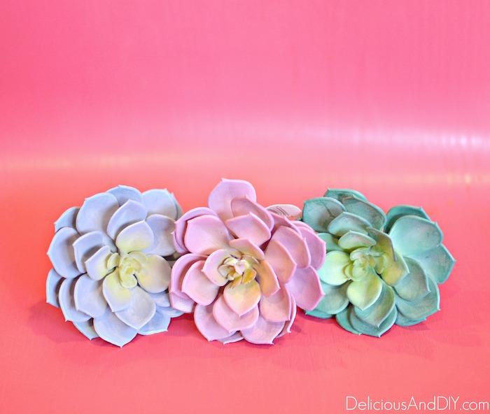 pastel shades succulent faux plants