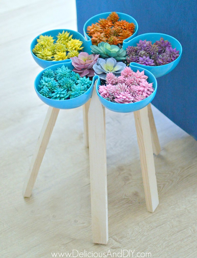 Flower Shaped Tray turned into a Succulent Garden Side Table