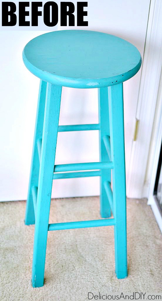 thrifted wooden bar stool before it is painted