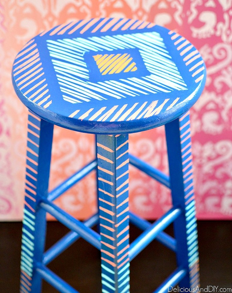 refinished wooden bar stool