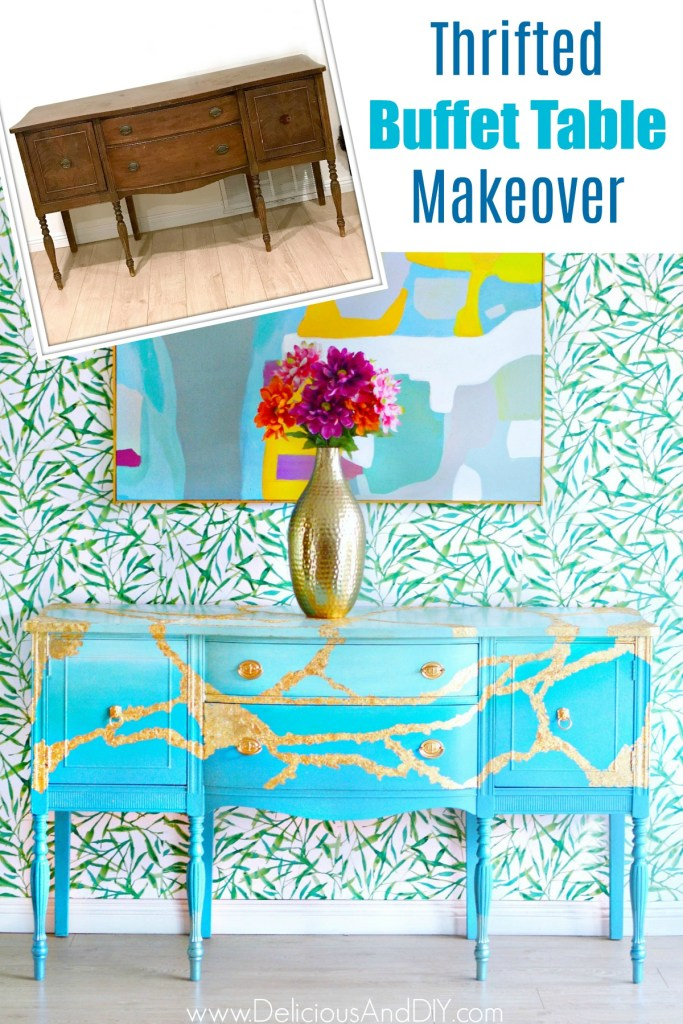 Vintage Buffet Table Makeover with Gold Leaf