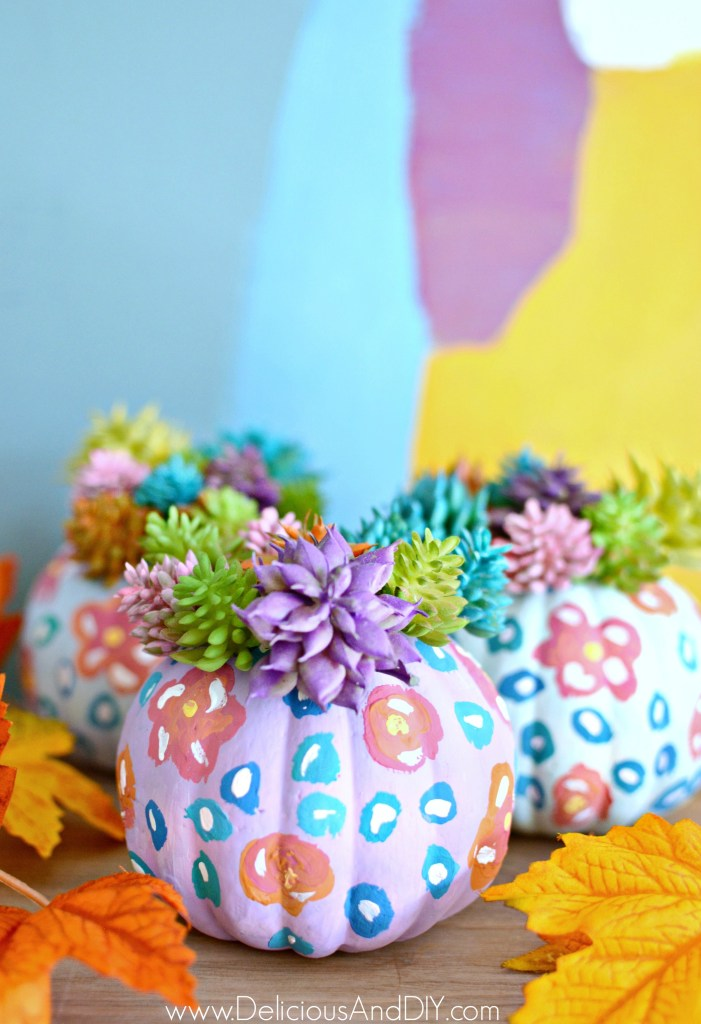 painted faux succulent pumpkins
