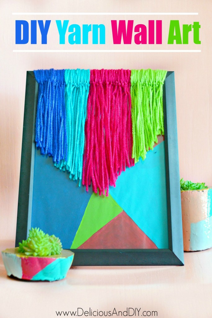 geometric diy yarn frame wall art