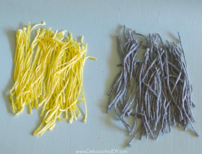 yarn used to create the diy ornament tassel