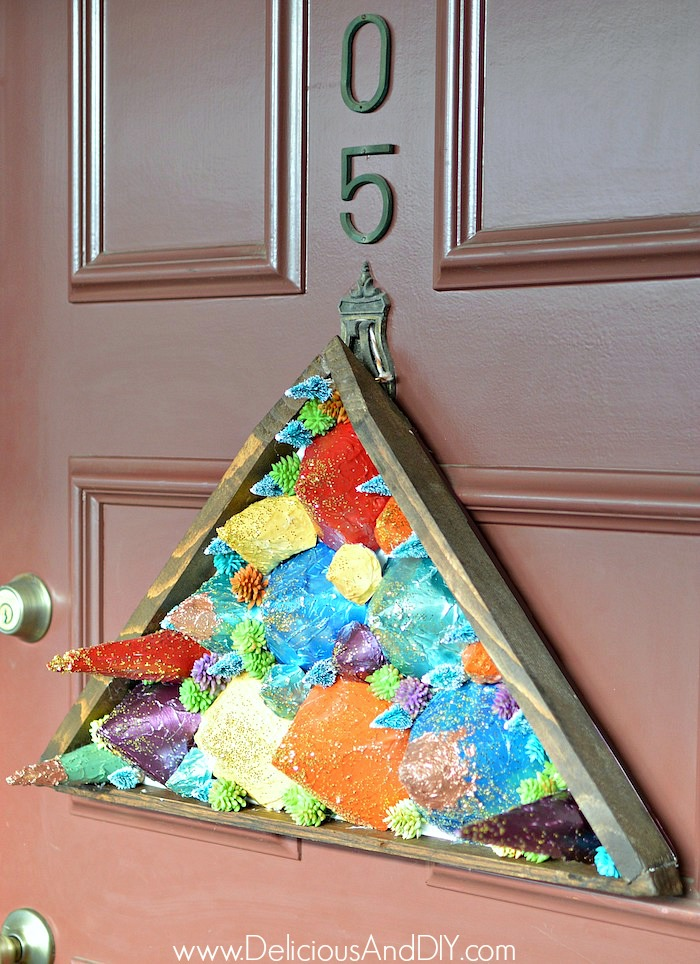 christmas door decor made with paper cones