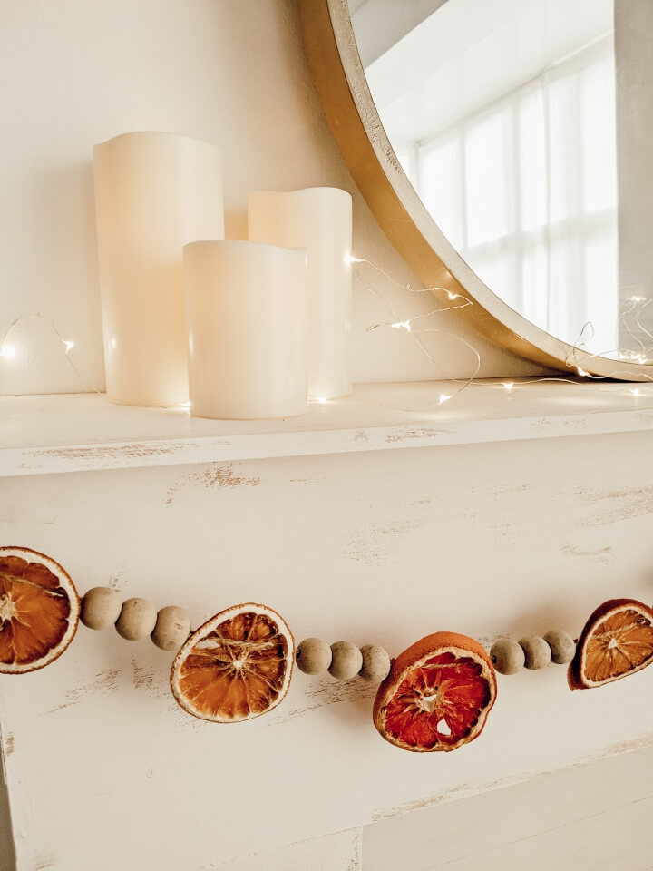 DIY Dried Orange Wooden Bead Garland