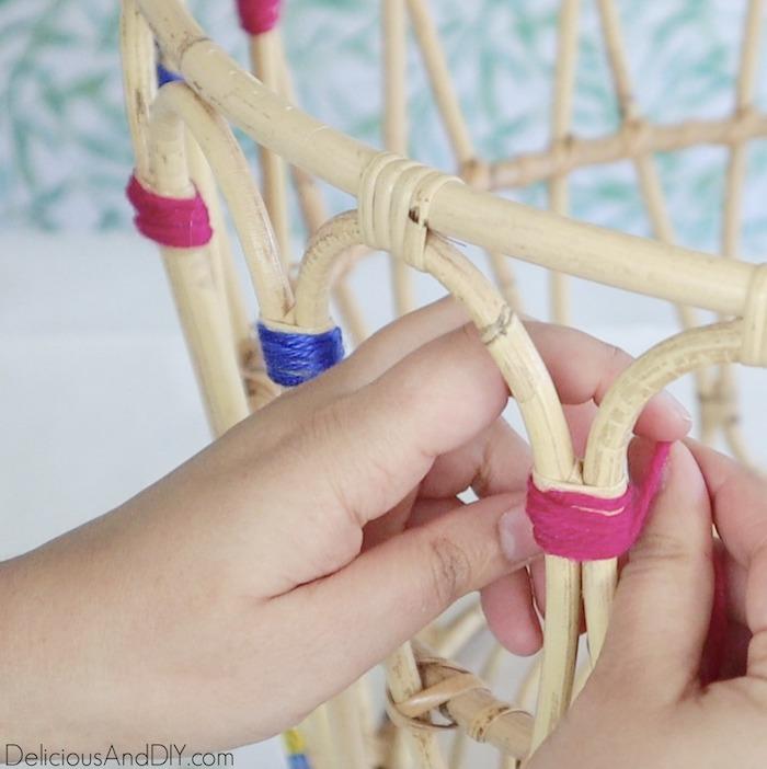 wrapping yarn around the ikea basket