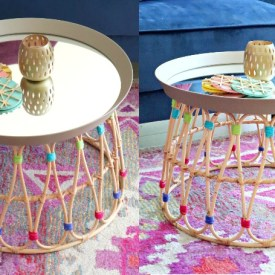 ikea coffee table made by using a mirror and basket