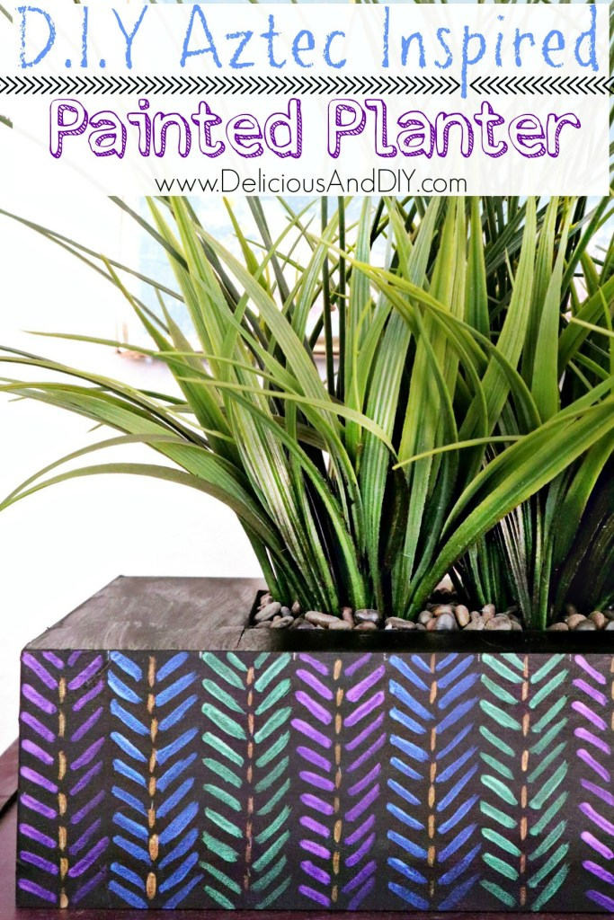 aztec inspired painted planter