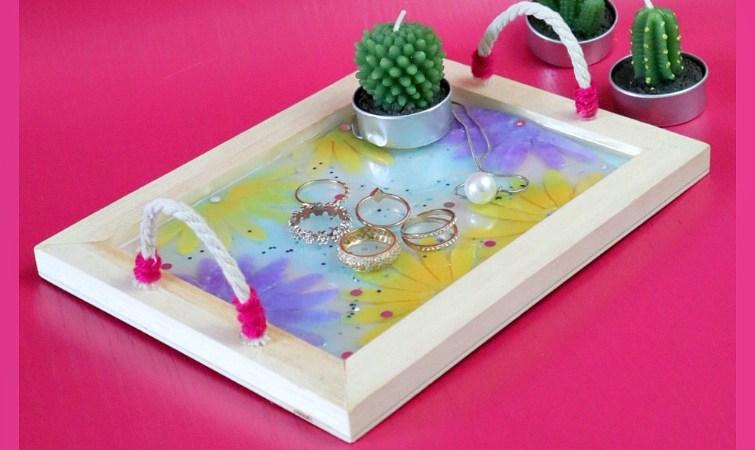 DIY Felt Flowers Resin Jewelry Tray