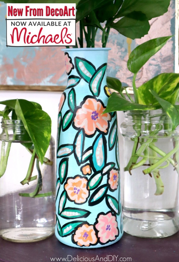 dollar store painted floral vase