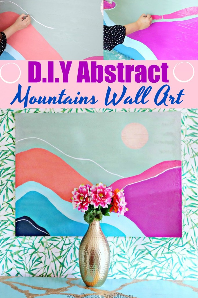 learn how to paint an abstract colorful mountains wall art